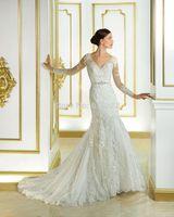Fashion New Arrival vestido de noiva 2015 V-neck Full Sleeve See Through Beaded Sash Court Train Lace Mermaid Wedding Dresses