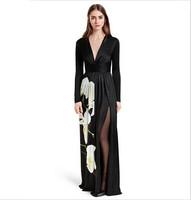 2015 New Spring Women's Long Dress Fashion Black Tulip Floral Print V-neck Split Full Dress Full Sleeve Sexy Formal Dress