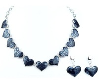 Top Quality Many hearts Enamel  Fashion jewelry set Women's Party gift Chain Necklace and earrings set Gifts A040