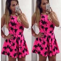 New! Summer Women Dress vestidos Coconut Tree printed dresses pink casual dress cute vestido de festa party dresses women
