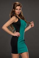 Free Shipping New 2014 Womens Summer Sleeveless Dresses Backless Size M/L Available Green Black Back Stripe Short Dresses