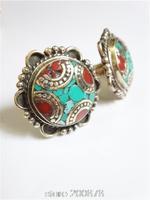 R207  Nepal antiqued copper big flower ring,Tibetan ethnic turquoise vintage flower rings