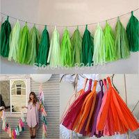 Wholesale 1000 pcs Mylar Tissue Paper Tassel Garland Shiny  for festival wedding decorations birthdays party Free shipping