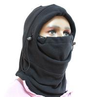 1Pc 6 in 1 Multi-function Thermal Fleece Balaclava Hood Police Swat Ski Bike Wind Stopper Face Mask Black H1E1