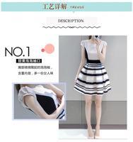 Hot Selling New South Korean Summer Fashion Chiffon Petal Sleeve O-Neck Eugen yarn splicer Striped Women Dress Casual Dress