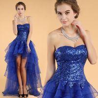 2014 New Arrival Graduation Gown Prom Dresses Tube Top Blue Formatura Dress Sequins Special Fiesta Dresses