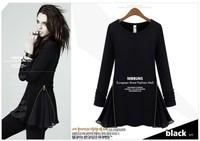 New Autumn Dress 2014 New Fashion O-Neck Knited Fleece Slim Side Zipper Patchwork Cotton Long-Sleeve Casual Dress Women Vestidos