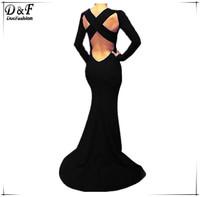 Vestidos De Fiesta  2015 Summer Women Sexy Open Back Long Evening Dresses Black Long Sleeve Cross Backless Maxi Chiffon Dress