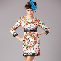 S- 5XL High Quality Big Size Women Clothing XXXXXL 2015 Spring Autumn Elegant Dress Ladies Flower Print 3/4 Sleeve Slim Dress