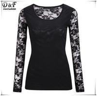 Blusas Femininas 2015 Spring New Women Fashion Summer Casual Streetwear Fitness Solid Black Lace Long Sleeve Sheer Blouse