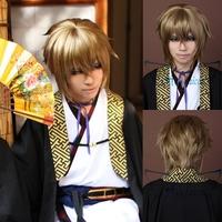 Angelaicos Hakuouki Kazama Chikage Boy Short Brown Cool Halloween Costume Party Cosplay Wig