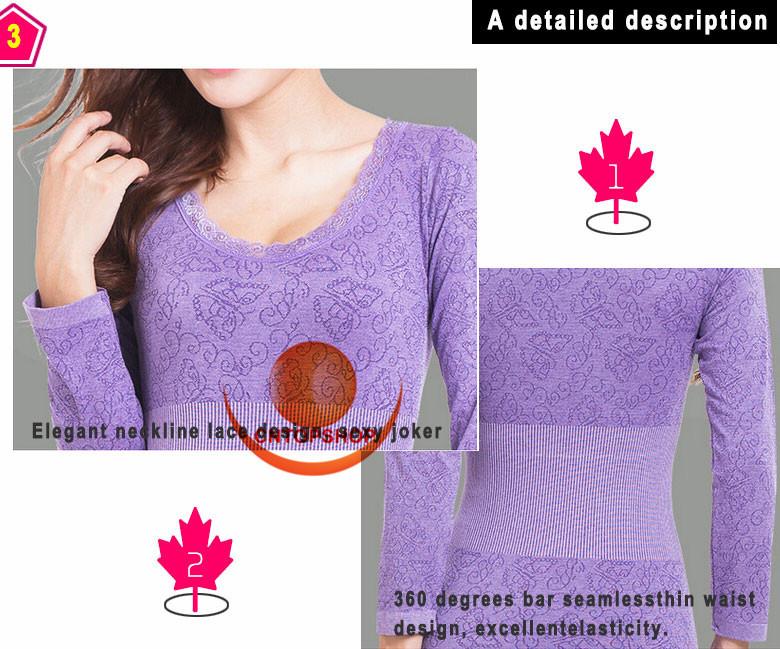 Зима модель теплый лонг джонс о шеи кружева цветок женщины формирователь бесшовные термобелье длинный топ + полная длина брюки корректирующее белье
