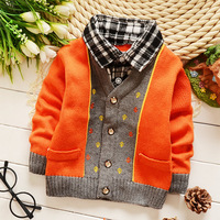 Boys plaid shirt collar fake two sweaters Children warm knit sweater Spring-sleeved sweater