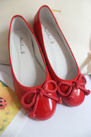 2015 small red shoes flat heel red genuine leather bow wedding shoes boat shoes