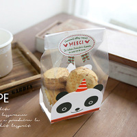 Lovely panda transparent Flat open top bag Cake&Cookie Wrappers-Cookies,candy,Party, Favor,Wedding, Bread Handmade Package