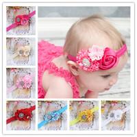 flower hair accessories  baby clips  coroa de princesa satin ribbon roses combination with rhinestones Children ribbon headband