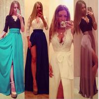 Hot Sale 2014 Luxury Celebrity Party Dress Fashion Long Design Lace Sexy Side Slit Cheap Evening Dresses