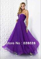 2012 New arrival elegant A-line Sweetheart gorgeous purple dazzling waist Rhinestone pageant prome dress