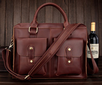 Hot Selling Genuine Leather Red Brown Laptop Bag Messenger Bag Men's Briefcase Free Shipping