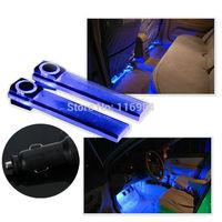 12V 4LED Car Auto Interior Atmosphere Lights Decoration Lamp Light Blue / Colorful