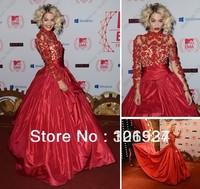 Custom Rita Ora at the MTV EMA's 2012 Taffeta Celebrity Dresses Red Ball Gown Long Sleeve Red Carpet Evening Dresses