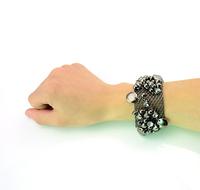 European Fashion Style Vintage Gun Black Ball Crystal Wide Chain Bangle Bracelet