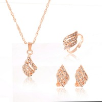 fashion jewrlry sets-FLOWER quality cubic zircon pendant necklace and earrings and ring sets for women