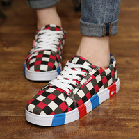 Unisex lovers flat heels plaid lacing canvas shoes low sneakers female/male sys-366