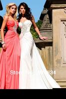 Wholesale 2013 Gorgeous Prom Dresses Sweetheart Beading Pink Chiffon Long Evening Dresses TE 92139