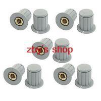 10pcs Volume Control 4mm Split Shaft Diameter Potentiometer Knobs Gray