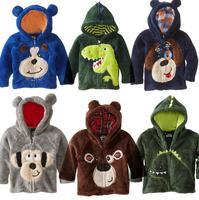 2015 new classic children's clothing  boys girls cartoon thorn coral velvet dinosaur jacket hoodies