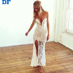 White Lace Casual Beach Dress 2015 New Sleeveless V Neck Women Evening Party Dress Elegant Princess Romantic Dress Vestidos Lace
