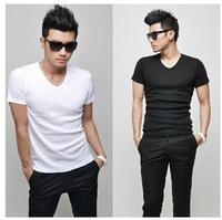 2014 NEW fashion Korean Men's Summer Solid V-neck T-shirts man Cotton casual Thin short sleeve T-shirt Tops Tees