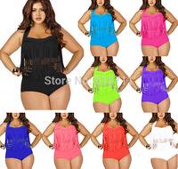 2015 New High Waist Fringe Tassel Bikinis Set Sexy Push Up Swimwear Swimsuit Retro Biquini Plus Size L-3XL