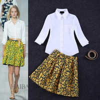 High Quality New Fashion Shirts 2015 Spring Women White Bloues+Floral Print Yellow Skirts(1Set)Casual Sweet Ladies Skirt Suit