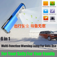6 In One Safty Multi Function Warning Lamp For Auto Driving With Emergency Light, Flashlight, Power Bank, Safty Hammer,Knife