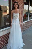 Floor Length White Chiffon Spring Sweetheart Beaded Evening Dress Prom Dresses 2015 Fashion Vestido Longo