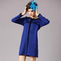 S-5XL Brand 2015 Spring Autumn Women Blue Contrast Color Patchwork Split Line Long Sleeve Pocket Big Size Dress XXXXXL Vestido