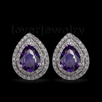 Hot Selling Solid 14kt White Gold 2.83Ct Diamond Pear 6x8mm Purple Amethyst Earrings CA001