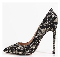 New 2015 Sexy Black Lace High Heels for Women Plus Size 33 34 35-4110 Red Bottom Black Pumps for Women Wholesale Shoes
