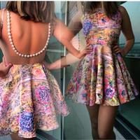 2015 New Fashion Women Casual Dress Patchwork Sexy Penci Beading Print Dress Vestidos