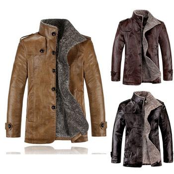 Кожаная куртка мужчины зимние куртки и пальто утолщение шерсть бурелом водонепроницаемый ...