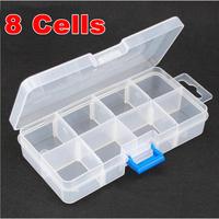 8 Grid Transparent Box Plastic Acrylic Cosmetic Nail Art Box Case Storage Container Rhinestones Tools O2591