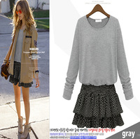 2014 Autumn Winter New European American Style Women Casual Dress Contrast Color Patchwork Long Sleeve Dress Plus Size