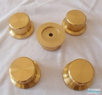 Solid Potentiometer Knob Straw Hat Whole Aluminum HIFI Amplifier Outer Diameter 44 High 25mm ID 6mm Gold DIY Free Shipping