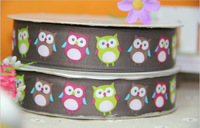 "free shipping 1"" 25mm Lovely owl printed ribbon grosgrain ribbon,Garment accessories,Hair ribbon"