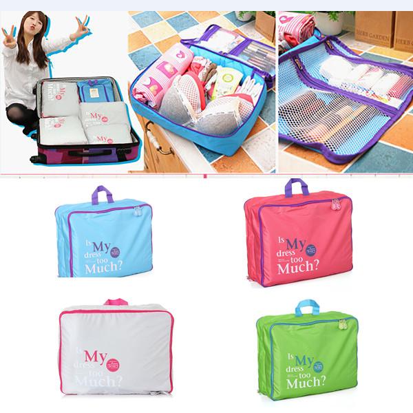 5Psc/Set Nylon Travel Pouch Luggage Insert Handbag Multifunction Organizer Bag Case Holder For Clothing Storage(China (Mainland))