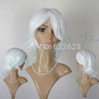 New Short White Anti-Alice Cos Wig  Kanekalon Fiber no lace Hair wigs Free shipping