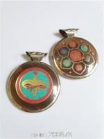 TBP801  Tibetan Yak Horn Inlaid Golden Buddha Eye Amulets Pendants double sides OM MANI PADME  HUM Totem