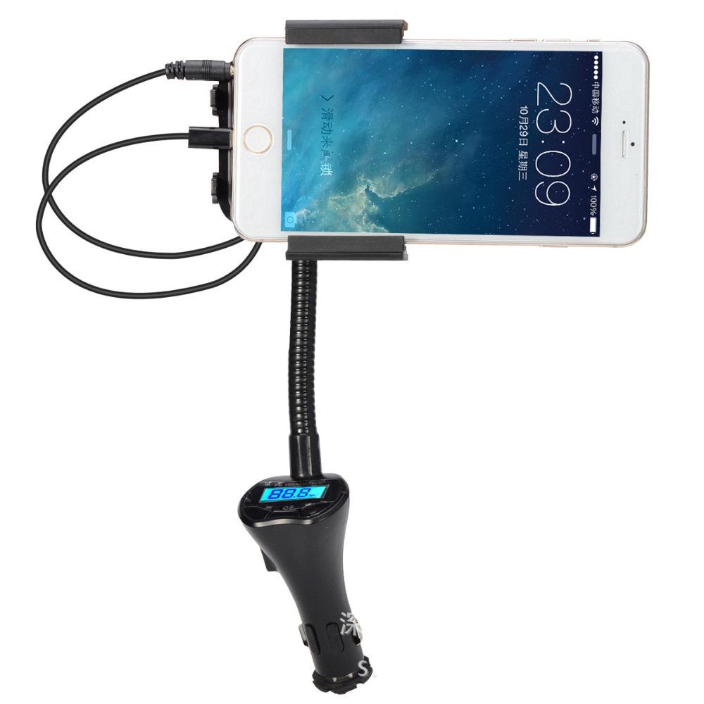 Universal 3.5mm Plug Car Charger Holder FM Radio Broad Handsfree Transmit Music LCD For iPhone 6 Plus 6 5S 5C iPod Samsung HTC(China (Mainland))